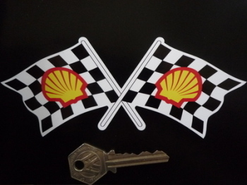"Shell Modern Crossed Chequered Flag Sticker. 6""."