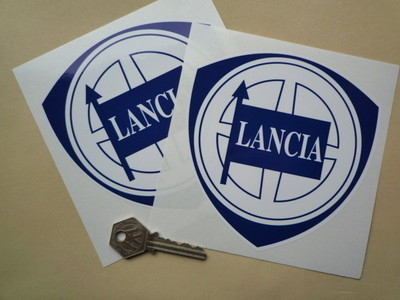 "Lancia Blue & White Shield Stickers. 2"", 3"", 4"", 5"", or 6"" Pair."
