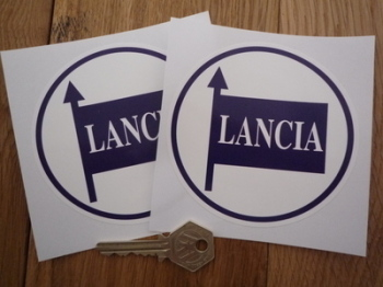 "Lancia Blue & White Circular Stickers. 4"" Pair."