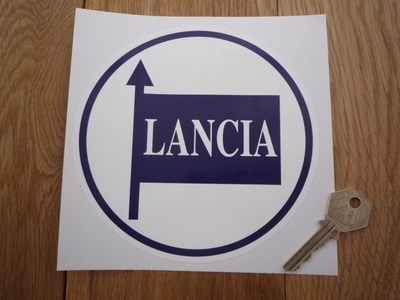 "Lancia Blue & White Circular Sticker. 6""."