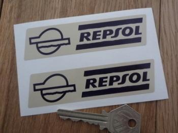 "Repsol Black & Beige Slanted Oblong Stickers. 4"" Pair."