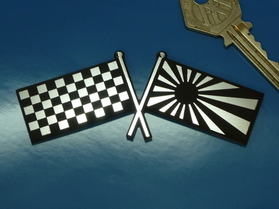 "Japanese Navy & Chequered Flag Self Adhesive Bike/Car Badge. 4""."