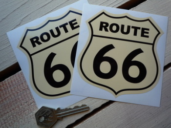 "Route 66 Black & Cream Stickers. 2"" or 3.5"" Pair."