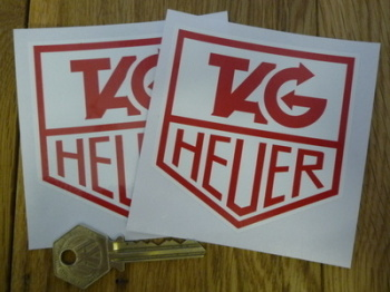 "Tag Heuer Red on White Stickers. 3"" Pair."