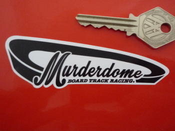 "Murderdome Board Track Racing Black & White Sticker. 4""."