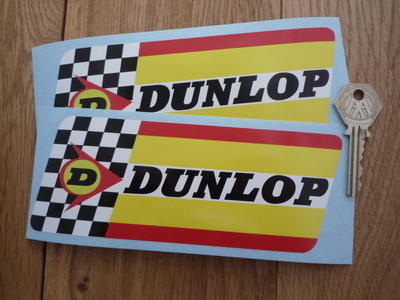 Dunlop thick check stripes white band stickers 170 x 65mm pair