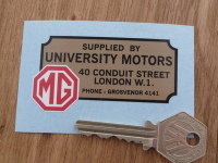 "MG University Motors London Dealers Sticker. 2.75""."
