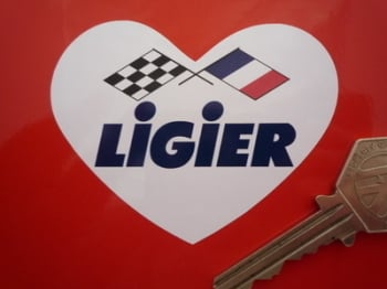 "Ligier Heart Shaped Crossed Flags Sticker. 3""."