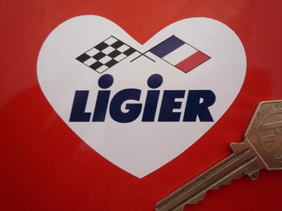 """Ligier Heart Shaped Crossed Flags Sticker. 3""""."""