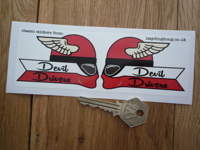 "Devil Drivers Winged Helmet Rider Stickers. 3"" Handed Pair."