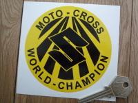 """Suzuki Moto-Cross World-Champion Sticker. 3"""", 4"""" or 6""""."""