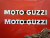 "Moto Guzzi One Piece Script Cut to Shape Stickers. 4"", 6"" or 8"" Pair."