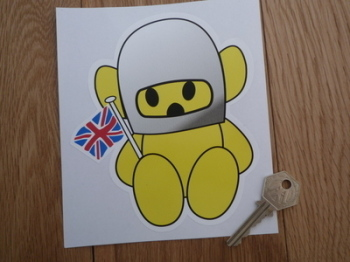 "Hesketh Teddy Bear Yellow Sticker. 6"" or 9""."