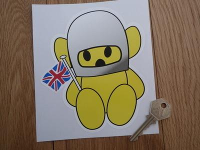 """Hesketh Teddy Bear Yellow Sticker. 6"""" or 9""""."""