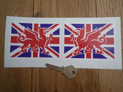 """Welsh Dragon on Union Jack Stickers. 1.25"""" or 4"""" Pair."""