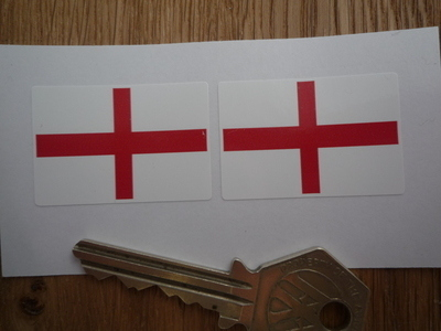 St George's Cross Oblong English England Flag Stickers. 38mm Pair.