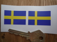 Sweden Flag Oblong Swedish Stickers. 1.5