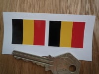 Belgian Flag Oblong Belgium Stickers. 33mm Pair.