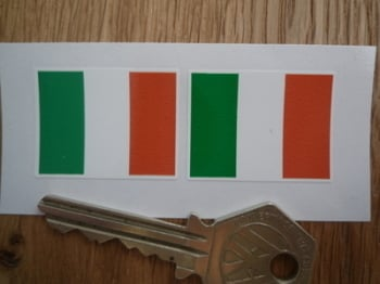 Irish Flag Oblong Ireland Stickers. 33mm Pair.