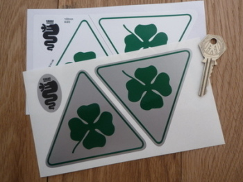 """Alfa Romeo Cloverleaf Triangle With Green Rounded Outline Stickers. 4"""" Pair."""