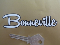 Bonneville Black Outline Script Cut Vinyl Sticker. 4 or 6