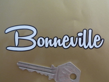 "Bonneville Black Outline Script Cut Vinyl Sticker. 4 or 6""."