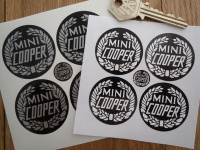 Mini Cooper Garland Style Monochrome Wheel Centre Stickers. Set of 4.