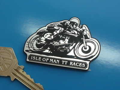 "Isle of Man TT Races Racing Biker Style Laser Cut Self Adhesive Badge. 2.5""."