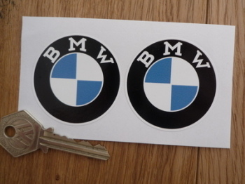 "BMW Serif Style Roundel Stickers. 2"" or 3"" Pair."