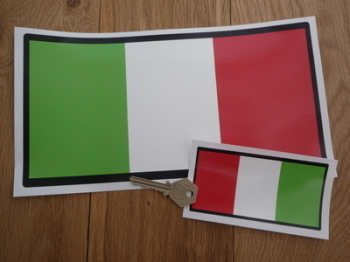 "Italian Tricolore Flag Black Border Oblong Sticker. 4.5"" or 10.5""."