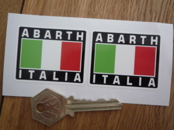 """Abarth Italia Tricolore Style Stickers. 2"""" Pair."""