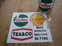 Workshop Coffee, Tea & Sugar Canister & Jar Label Set with Mug Labels.