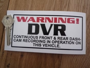 "DVR Dash-Cam Recording Warning White Static Cling Sticker. 6""."
