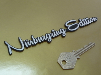 "Nurburgring Edition Script Laser Cut Self Adhesive Badge. 5.5""."