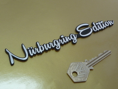 "Nurburgring Edition Script Laser Cut Self Adhesive Badge. 5.5""."