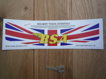 "BSA Union Jack Style Helmet Visor Sunstrip Sticker. 12""."