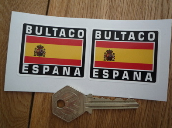 "Bultaco Espana Spanish Flag Style Stickers. 2"" Pair."