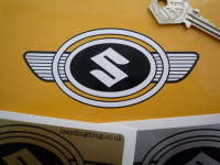 Suzuki Early Oval Winged Badge Style Sticker. 2.5