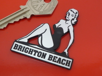 Brighton Beach Pin Up Girl Self Adhesive Car or Bike Badge. 2""