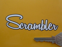 "Scrambler Black Outline Script Cut Vinyl Sticker. 4"" or 6""."