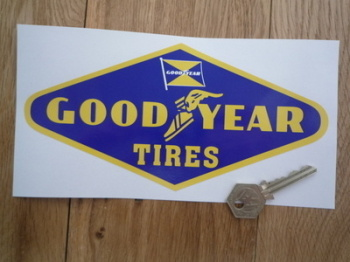 "Goodyear Tires Yellow on Dark Blue with Flag Diamond Sticker. 8""."
