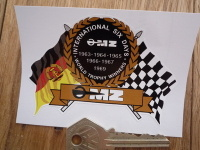 "MZ World Trophy Winners Flag & Scroll Sticker. 3.75""."