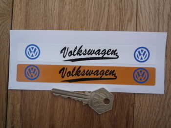 Volkswagen VW Blue Logo Number Plate Dealer Cover Stickers. 140mm Pair.
