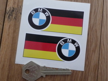 "BMW 60's Style Badge & Straight German Flag Stickers. 3"" or 5.5"" Pair."
