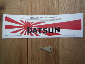 "Datsun Japanese Flag Style Helmet Visor Sunstrip Sticker. 12""."