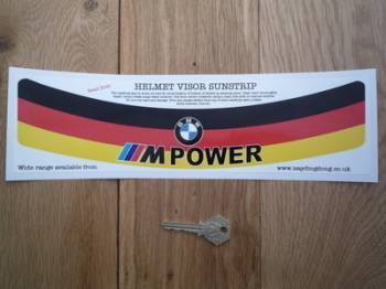 "BMW M Power German Tricolour Style Helmet Visor Sunstrip Sticker. 12""."