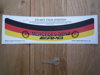 "Mercedes Benz AMG Tricolour Style Helmet Visor Sunstrip Sticker. 12""."