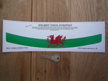 "Wales Red Dragon Flag Helmet Visor Sunstrip Sticker. 12""."