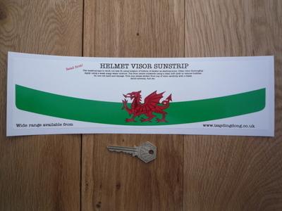 "Wales Red Dragon Flag Helmet Visor Sunstrip Sticker. 12""."