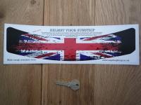 "Union Jack Worn & Distressed Style Curved Helmet Visor Sunstrip Sticker. 12""."